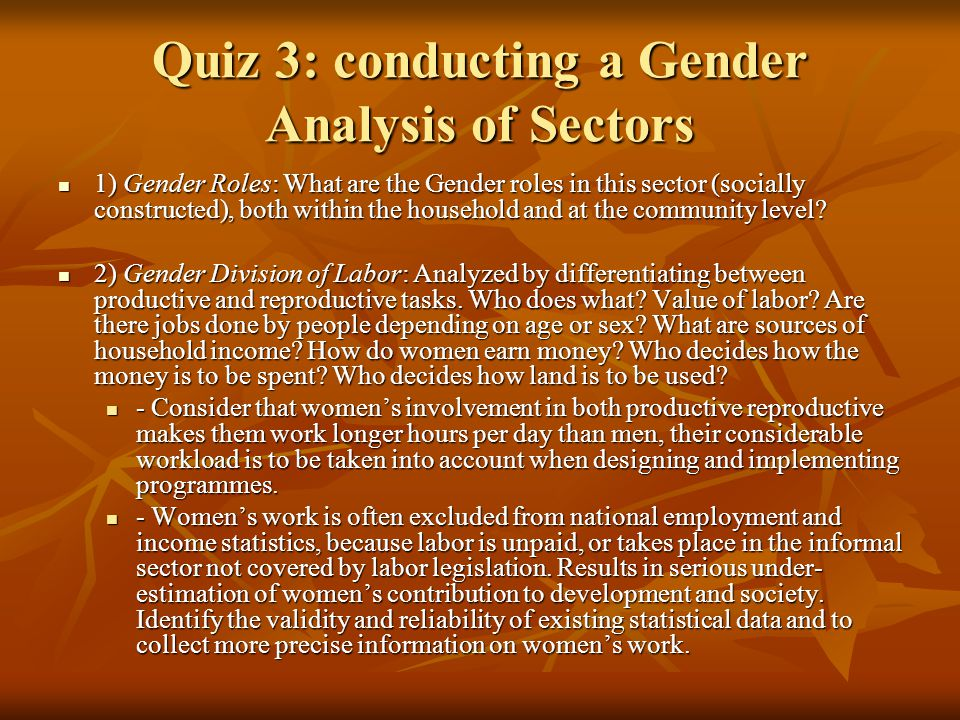 Quiz 3: conducting a Gender Analysis of Sectors