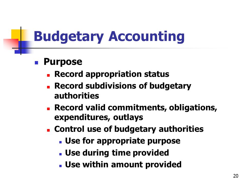 Budgetary Accounting Purpose Record appropriation status