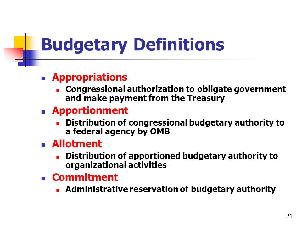 Budgetary Definitions