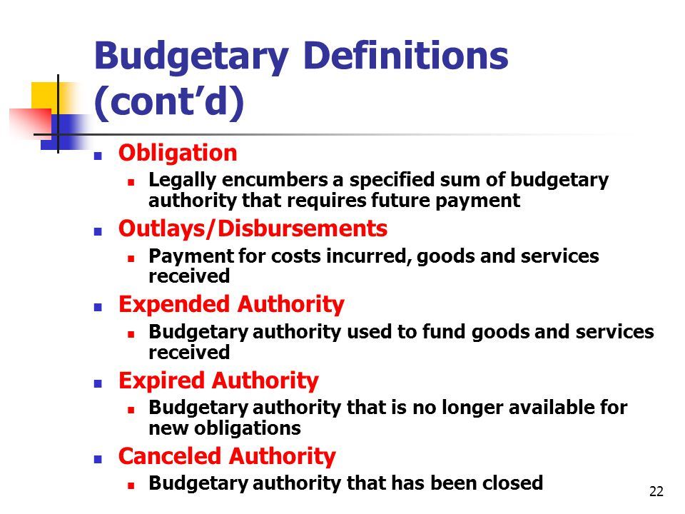 Budgetary Definitions (cont'd)