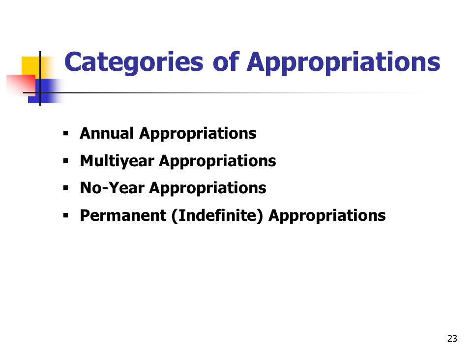 Categories of Appropriations