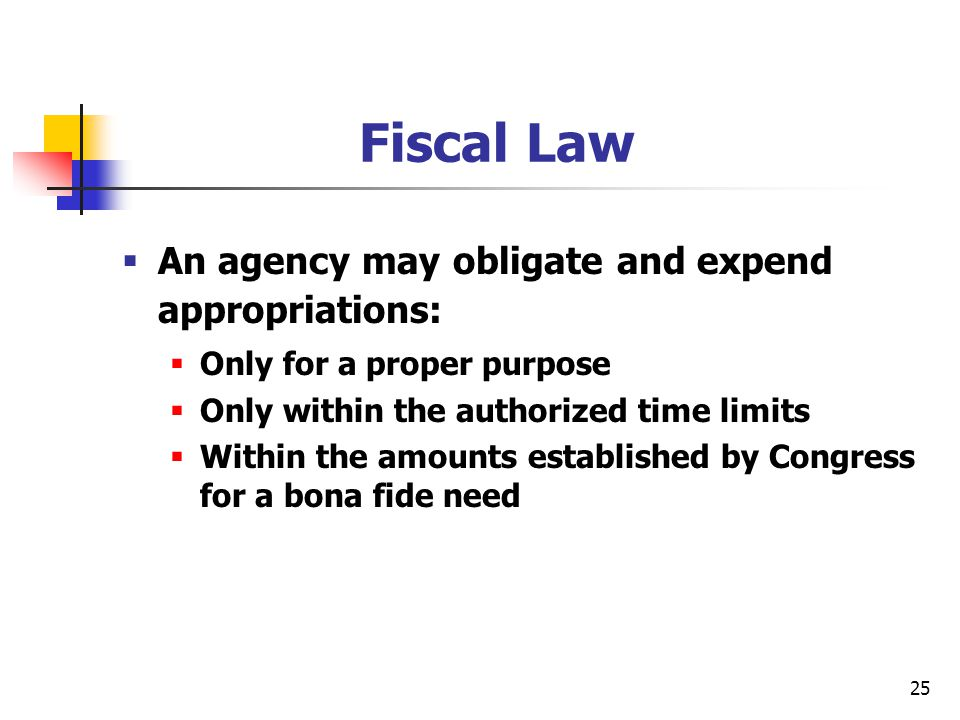 Fiscal Law An agency may obligate and expend appropriations: