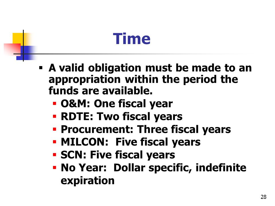 Time A valid obligation must be made to an appropriation within the period the funds are available.