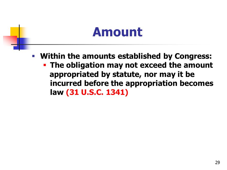 Amount Within the amounts established by Congress: