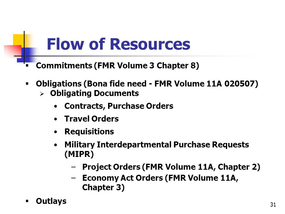 Flow of Resources Commitments (FMR Volume 3 Chapter 8)