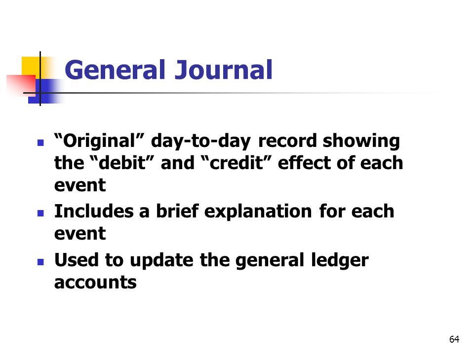 General Journal Original day-to-day record showing the debit and credit effect of each event.