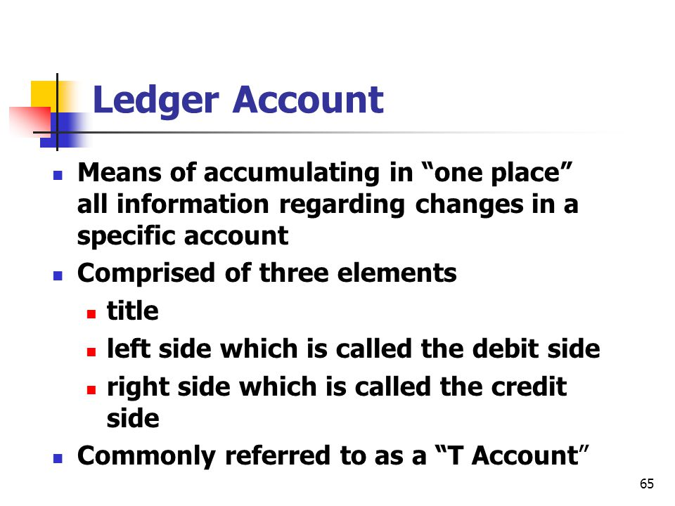 Ledger Account Means of accumulating in one place all information regarding changes in a specific account.