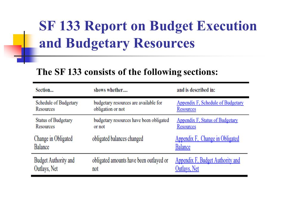 SF 133 Report on Budget Execution and Budgetary Resources