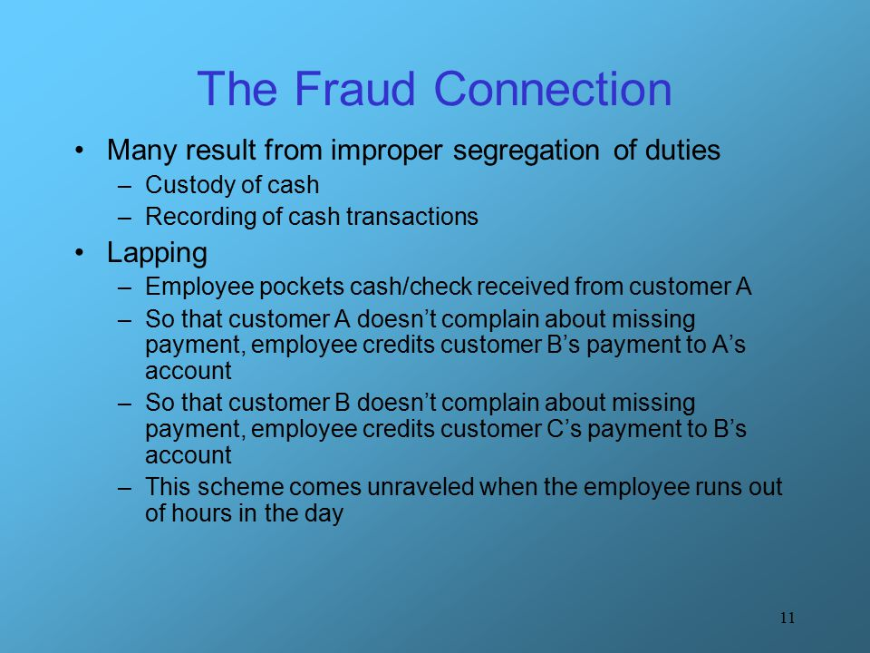The Fraud Connection Many result from improper segregation of duties