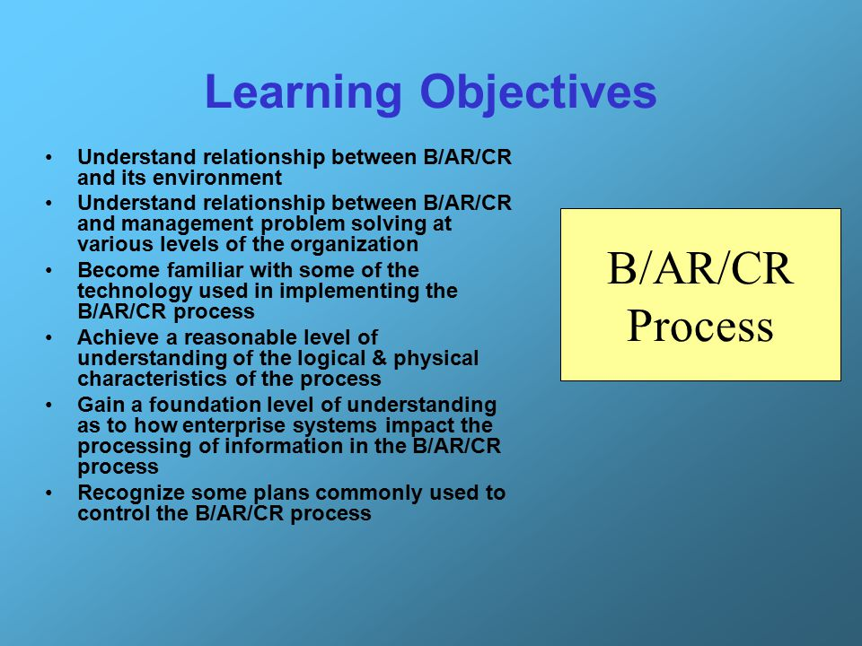Learning Objectives B/AR/CR Process