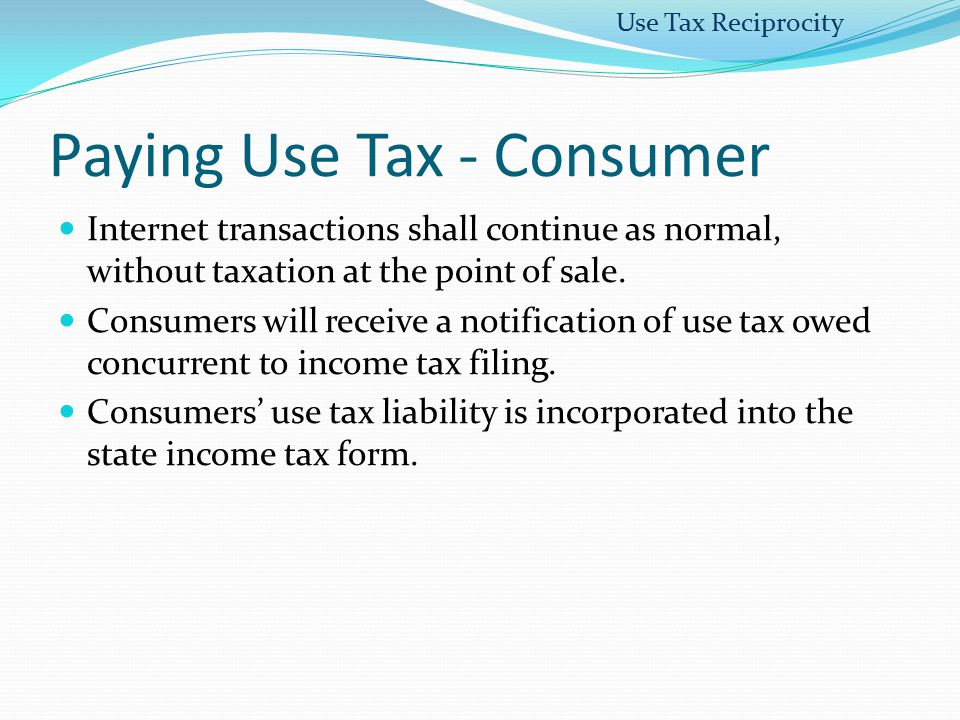 Paying Use Tax - Consumer