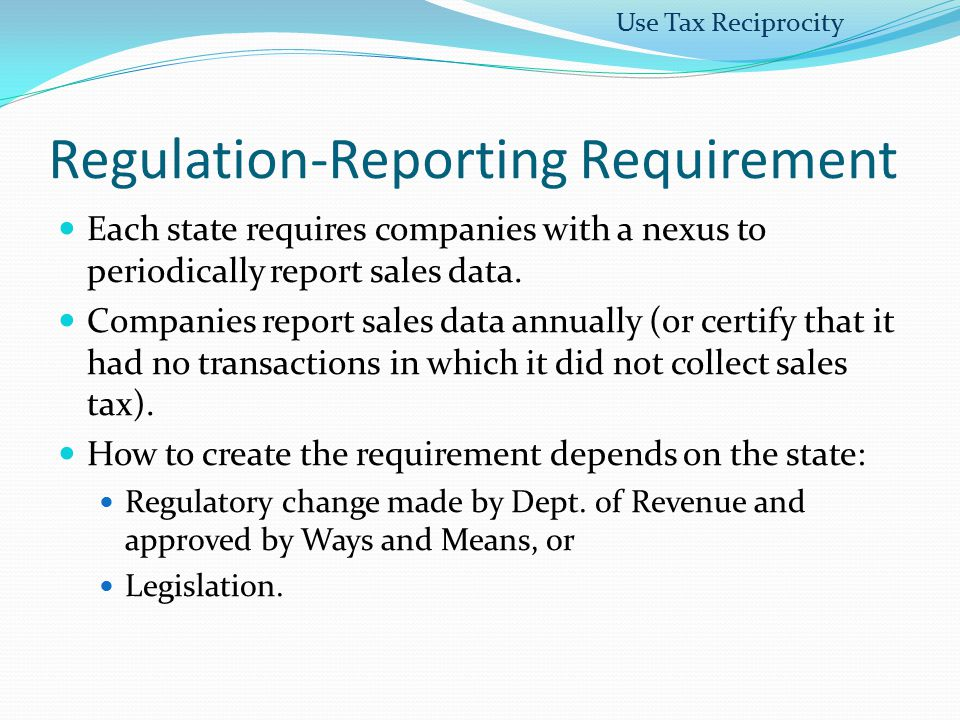 Regulation-Reporting Requirement
