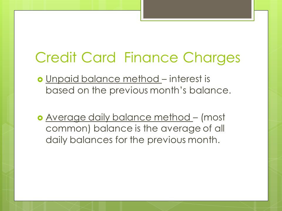 Credit Card Finance Charges