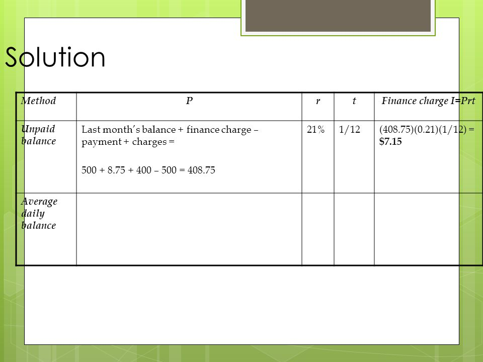 Solution Method P r t Finance charge I=Prt Unpaid balance