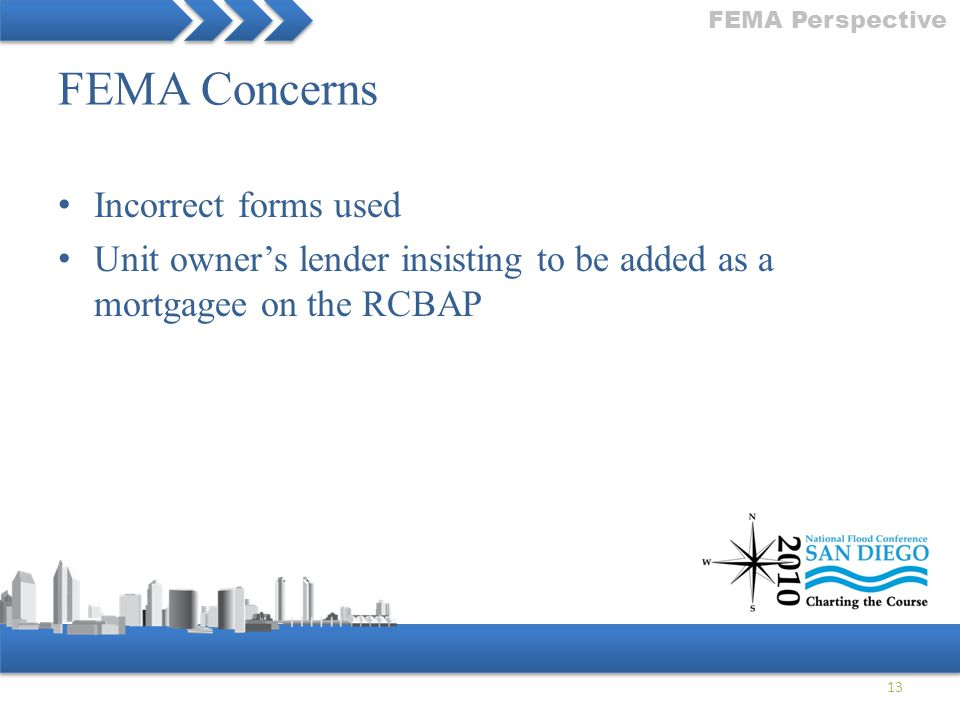 FEMA Concerns Incorrect forms used