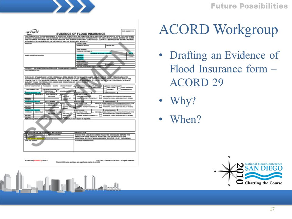 Future Possibilities ACORD Workgroup. Drafting an Evidence of Flood Insurance form – ACORD 29. Why