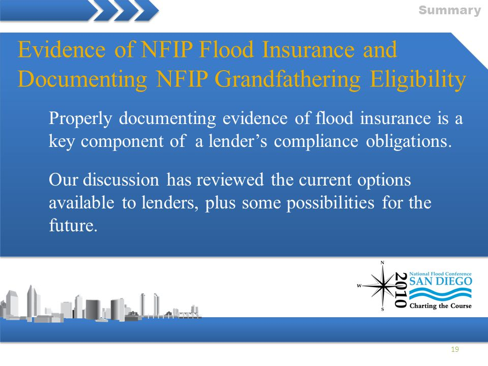 Summary Evidence of NFIP Flood Insurance and Documenting NFIP Grandfathering Eligibility.