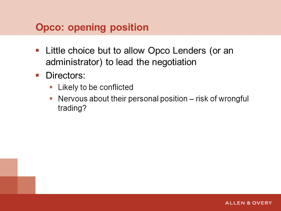 Opco: opening position