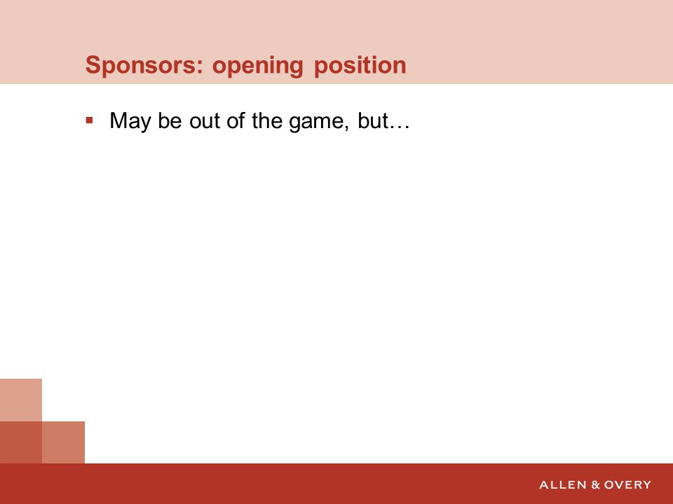 Sponsors: opening position