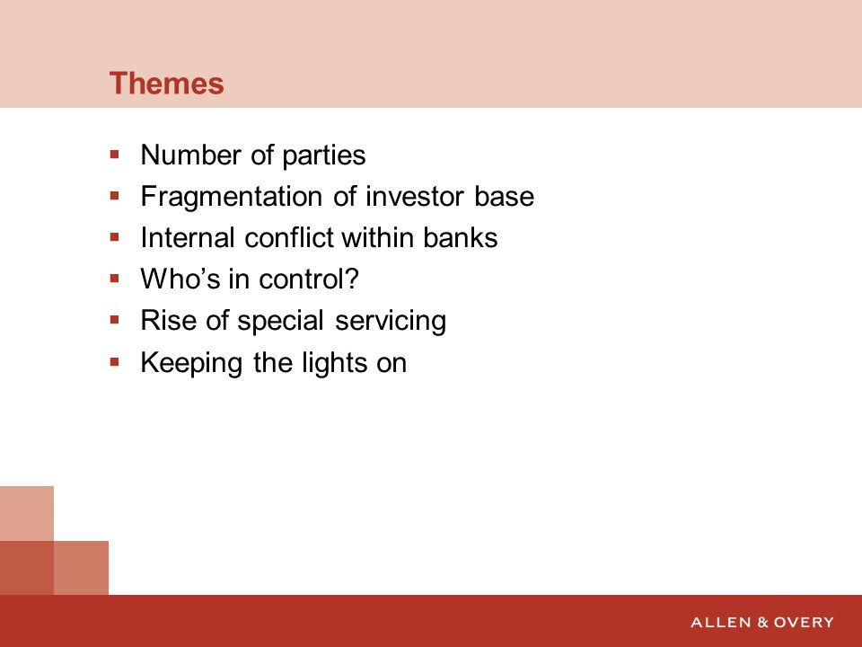 Themes Number of parties Fragmentation of investor base