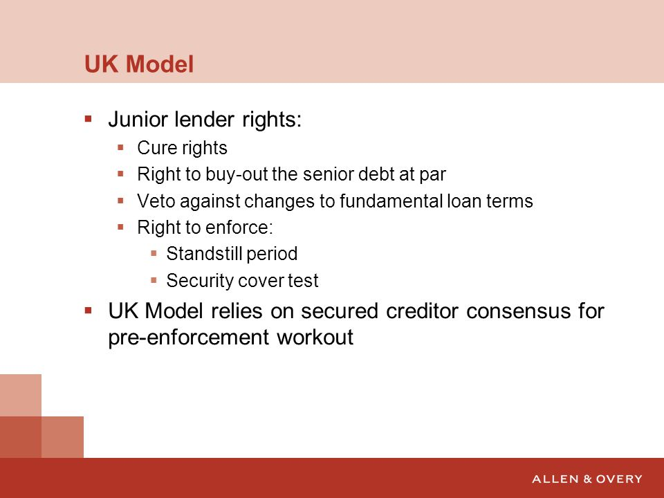 UK Model Junior lender rights: