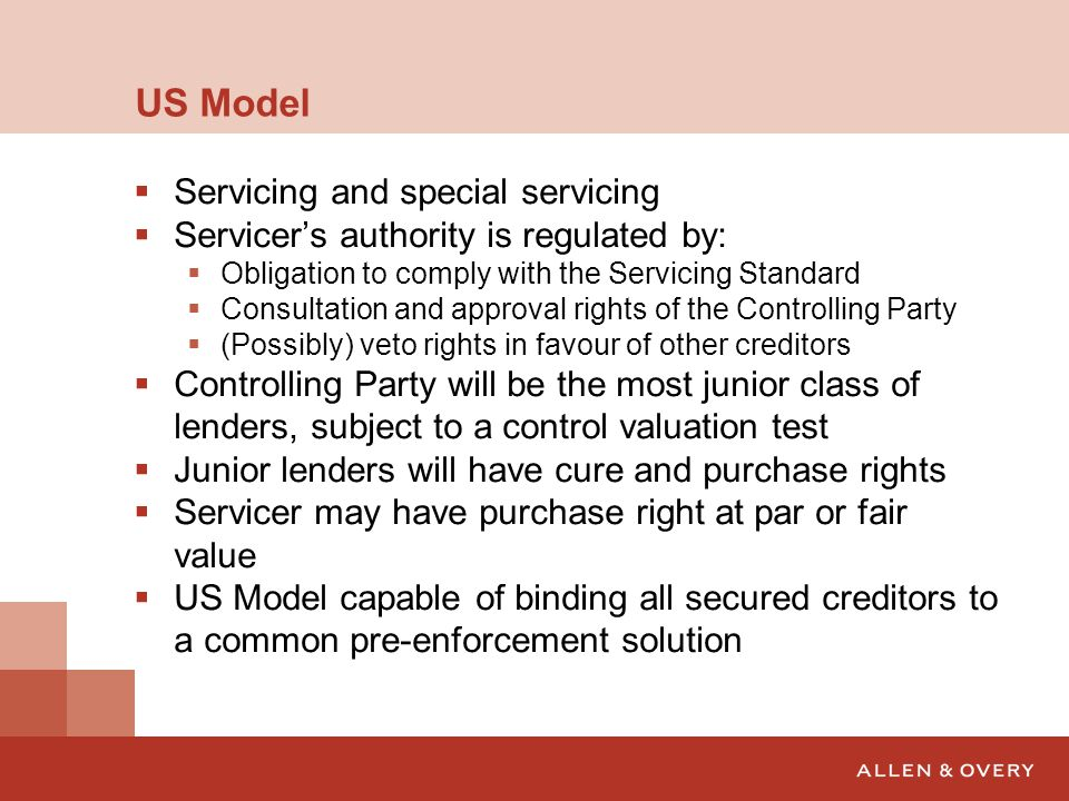 US Model Servicing and special servicing