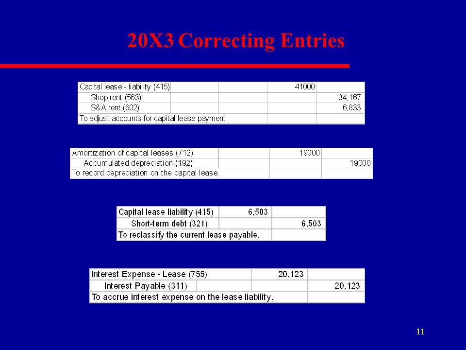 20X3 Correcting Entries