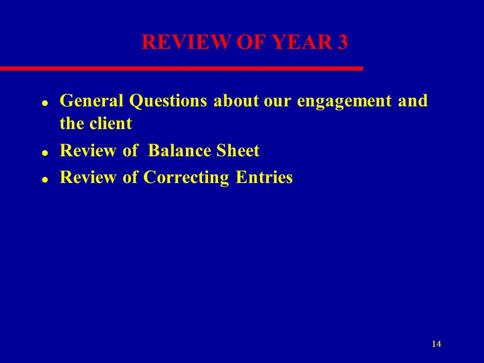 REVIEW OF YEAR 3 General Questions about our engagement and the client