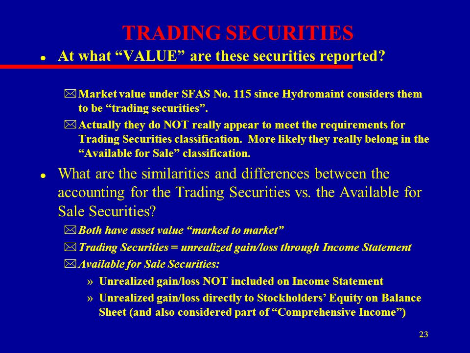 TRADING SECURITIES At what VALUE are these securities reported