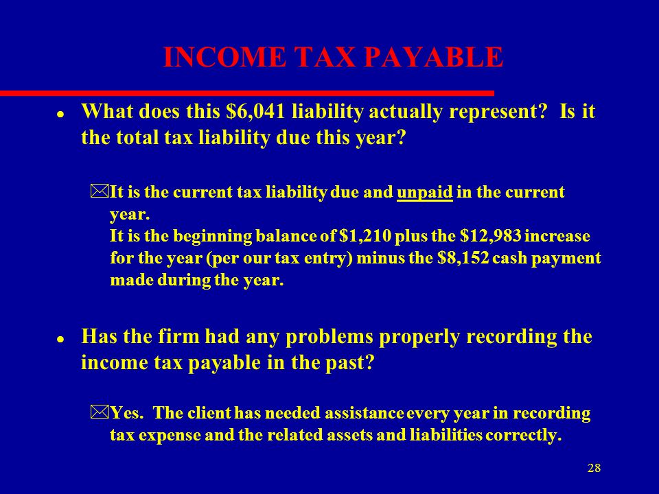INCOME TAX PAYABLE What does this $6,041 liability actually represent Is it the total tax liability due this year