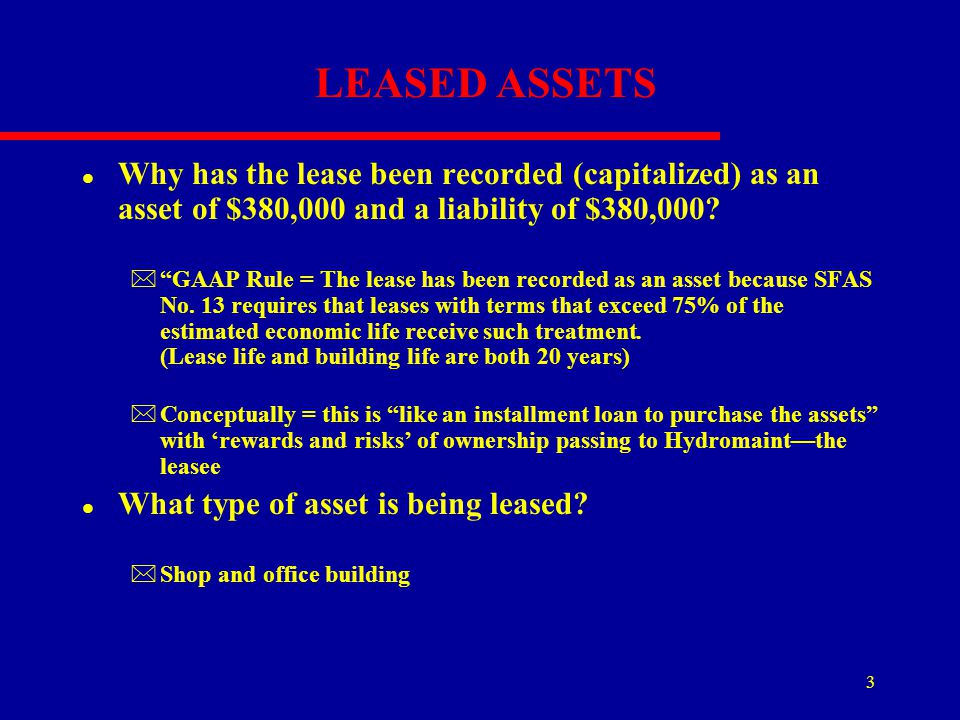 LEASED ASSETS Why has the lease been recorded (capitalized) as an asset of $380,000 and a liability of $380,000