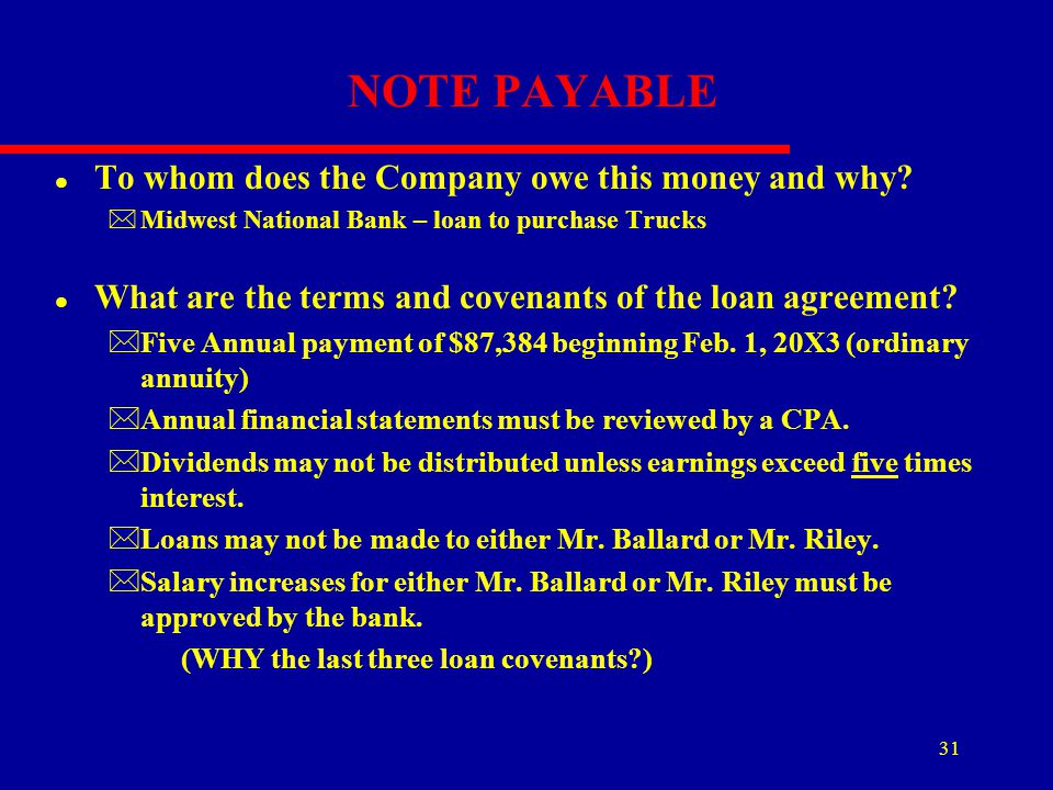 NOTE PAYABLE To whom does the Company owe this money and why
