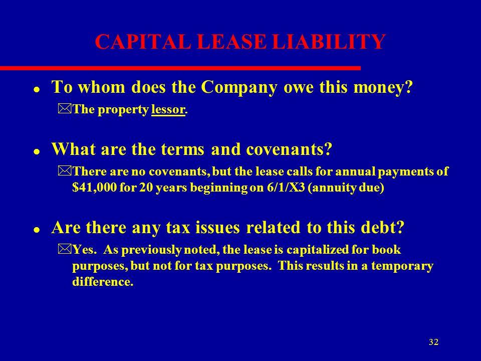 CAPITAL LEASE LIABILITY