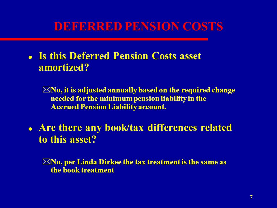 DEFERRED PENSION COSTS