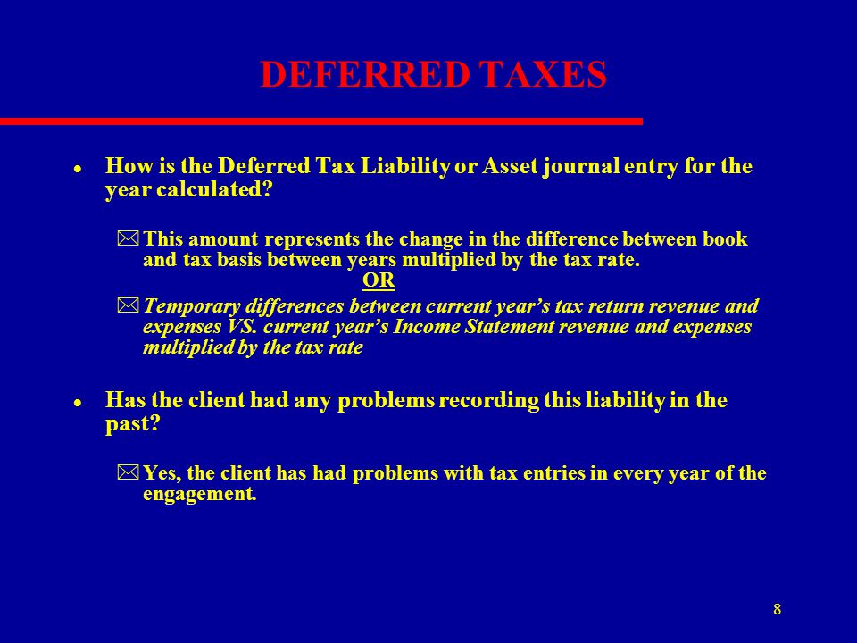 DEFERRED TAXES How is the Deferred Tax Liability or Asset journal entry for the year calculated