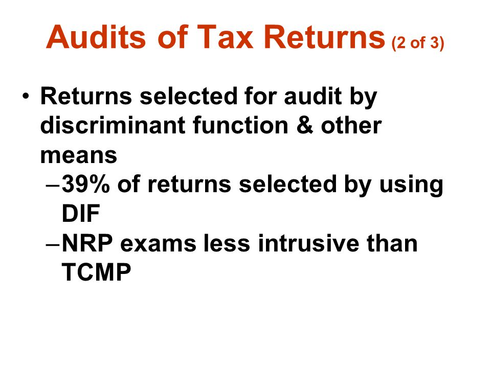 Audits of Tax Returns (2 of 3)