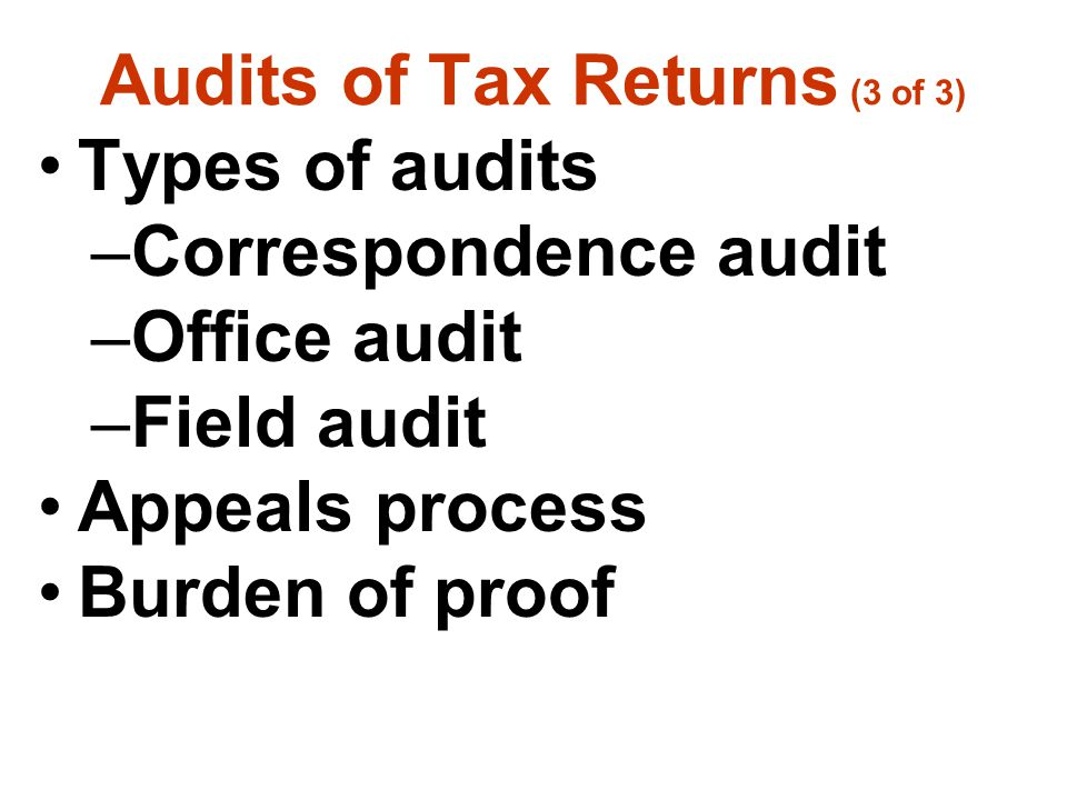 Audits of Tax Returns (3 of 3)