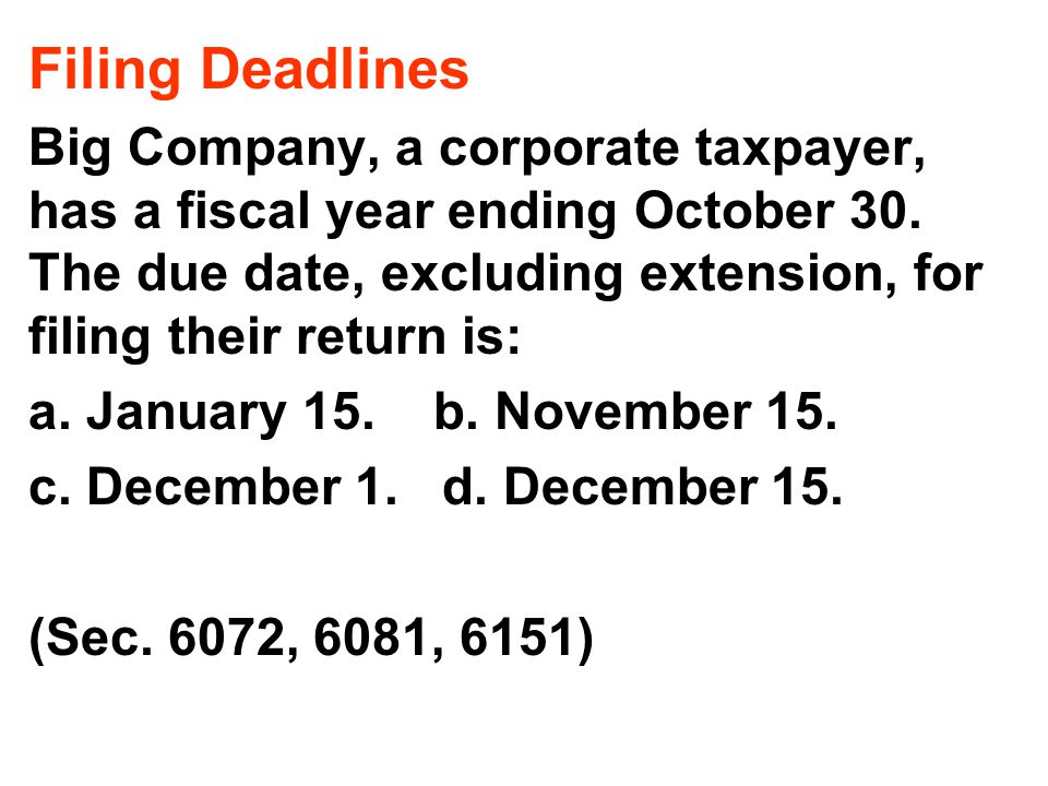 Filing Deadlines