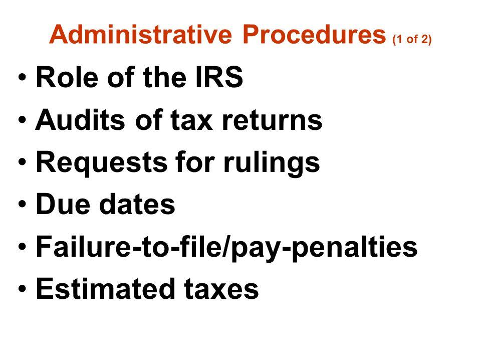 Administrative Procedures (1 of 2)