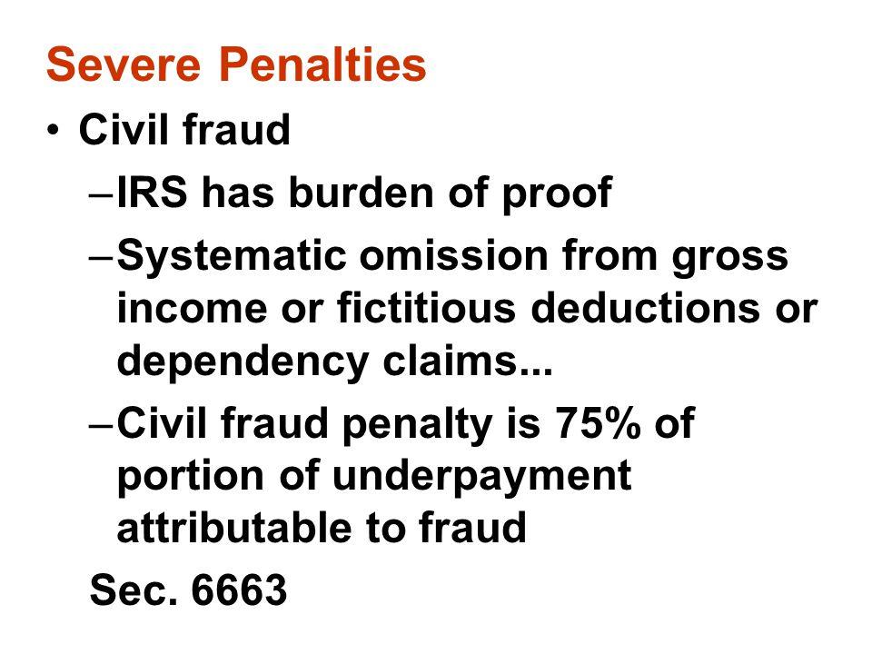 Severe Penalties Civil fraud IRS has burden of proof