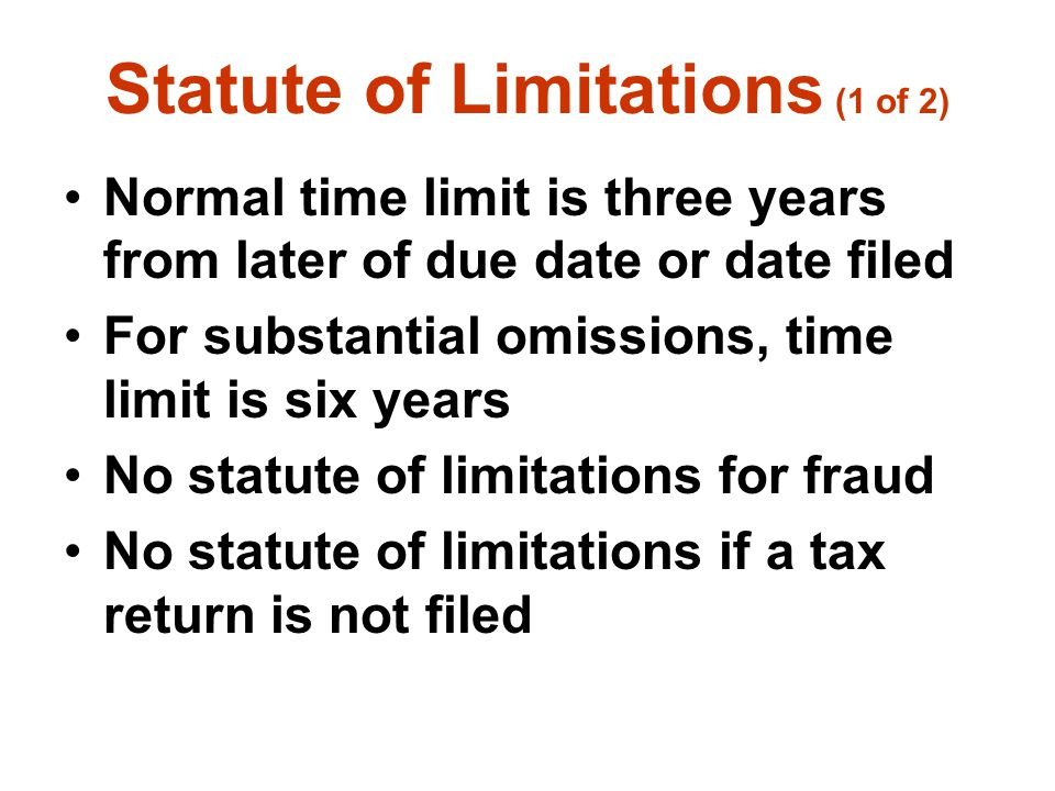 Statute of Limitations (1 of 2)