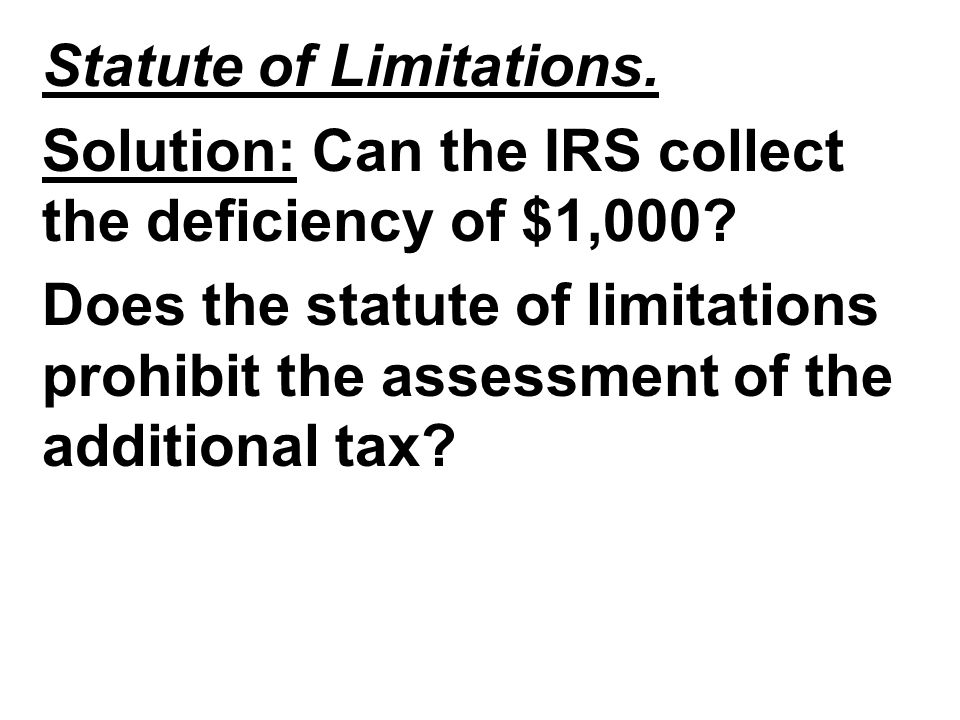 Statute of Limitations.