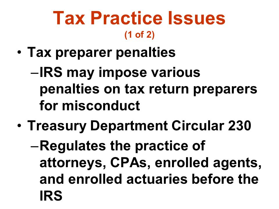 Tax Practice Issues (1 of 2)