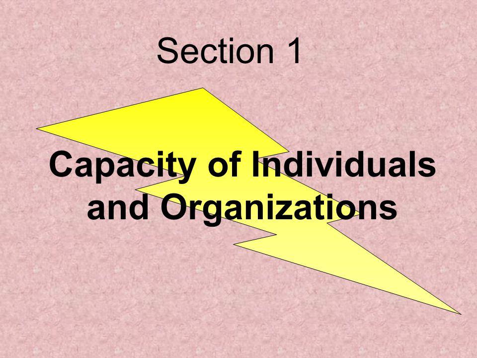 Capacity of Individuals and Organizations