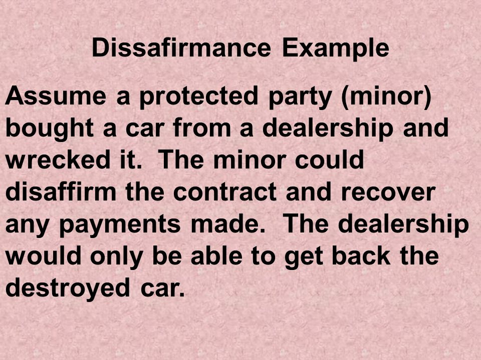 Dissafirmance Example