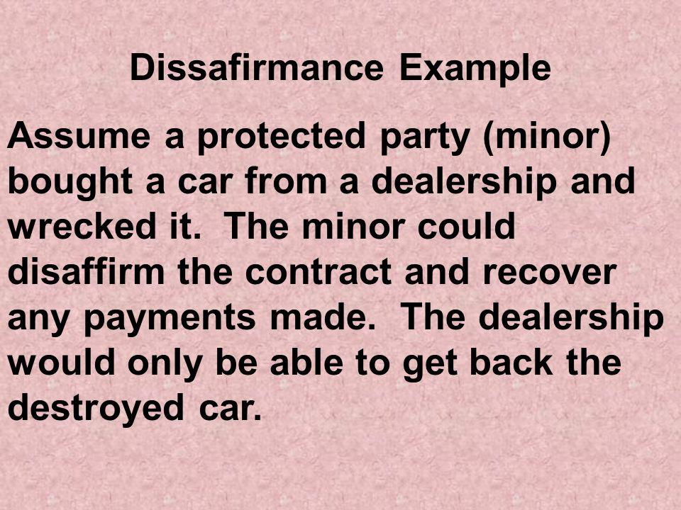Dissafirmance Example