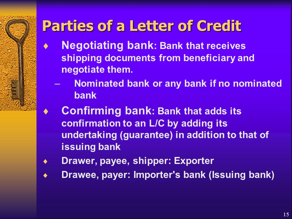 Parties of a Letter of Credit