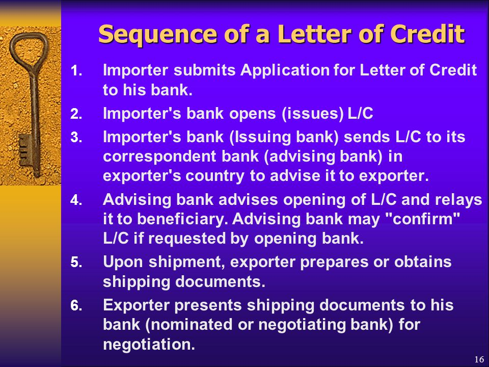 Sequence of a Letter of Credit