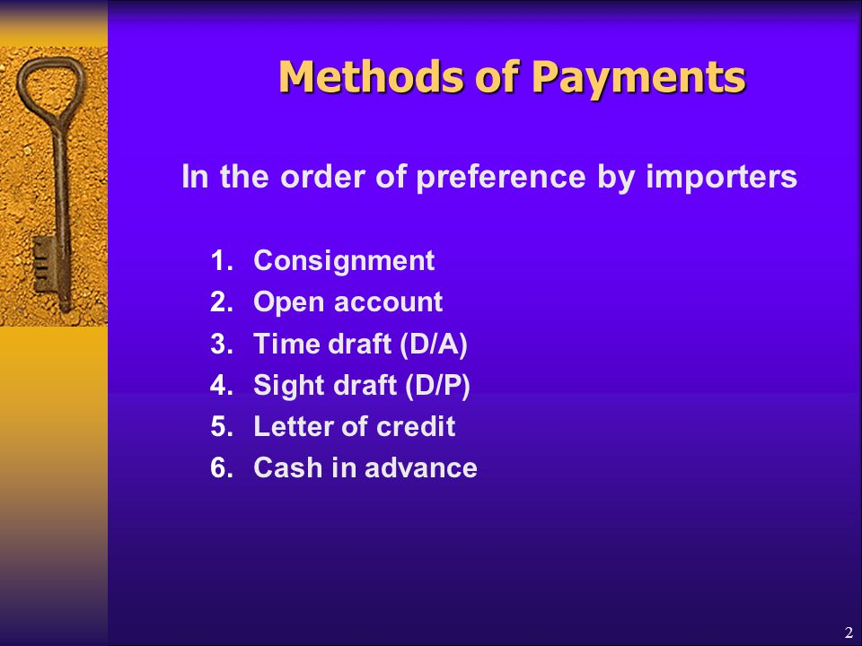 Methods of Payments In the order of preference by importers