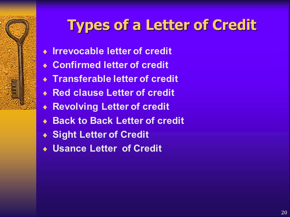 Types of a Letter of Credit